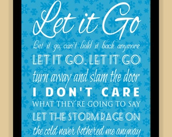 Frozen LET IT GO Typography Quote modern print poster
