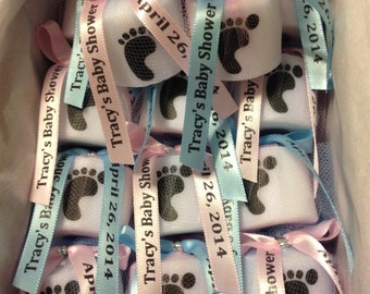 25 Gender reveal party favors, Baby Shower Favors, Candle Favors,Twins,  Baptism , Holy Communition Favors, Votive With Personalized Ribbon