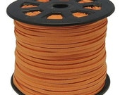 20ft Faux Suede Cord Lace Leather Cord Flat Orange rust 3x1.5mm, microsuede, soft leather lace