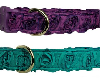 "Designer Rosette 1"" Flower Dog Collar - Purple or Turquoise Blue Dog Collar"