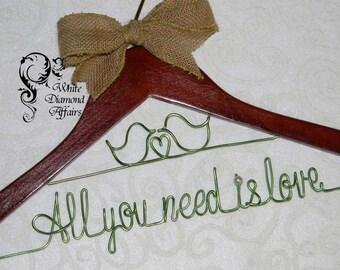 Love Birds Themed Wedding Hanger, Wedding Dress Hanger, Personalized Hanger, Wire Wedding Hanger