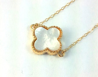 Clover Necklace 14kt Goldfilled Mother of Pearl Inlay - Womens Girls Four Leaf Clover Pendant Lucky Necklace