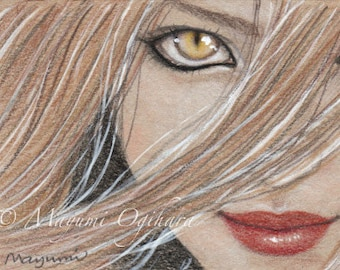 Catch me if you dare - ACEO open edition print, coloured pencil drawing, eye, fox , 2.5 X 3.5""