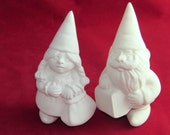 Ready to Paint Gnome Cake Topper Set for Weddings - 5.5 inches, bisque lawn or garden gnome, outdoor or indoor, wedding cake toppers