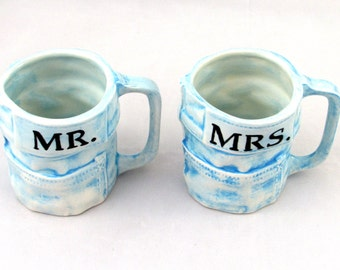 Set of Mr and Mrs Blue Jeans Mugs- Custom Mug for hot and cold beverages - hand made, 4 inches tall