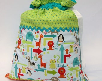 Sale - Boys Toy Storage or Laundry Bag - Hotchpotch Sack - Zoo