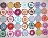 Mixed Lot of Crocheted Flower 24 Pieces,- with covered Button