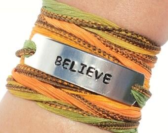 Believe Silk Wrap Bracelet - Inspirational Jewelry - Fall Bracelet - Autumn Jewelry - Christmas GIFT For Her - Yoga Jewelry - Yoga - Boho