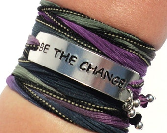 Be The Change Silk Wrap Bracelet Inspirational Positive Word Quote Jewelry With Meaning Engraved Healing Yogi Gift For Her Under 50 C40
