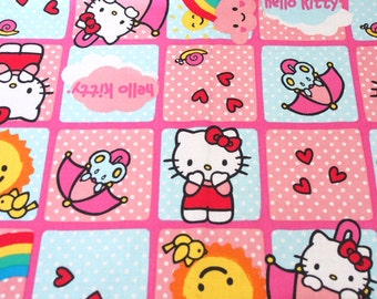 Hello Kitty pink squares cotton fabric half metre