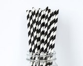 Black Striped Straws - 24 - with Free Printable Straw Flags - Paper Party Straws - The TomKat Studio