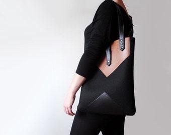 Black Sienna Brown Wool Felt Genuine Leather Tote Bag