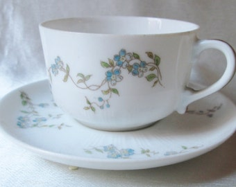 Antique Hand Decorated Limoges Demitasse Cup and Saucer,Blue Flowers,Gold Trim. Wedding Gift, Housewarming Gift,Valentine Gift,Get Well Gift