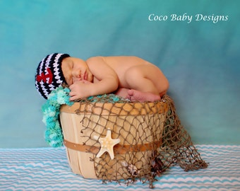 Crochet Baby Nautical Sailor Beanie - Great Photography Prop