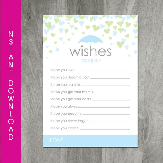 baby shower wishes for baby card instant download pdf file