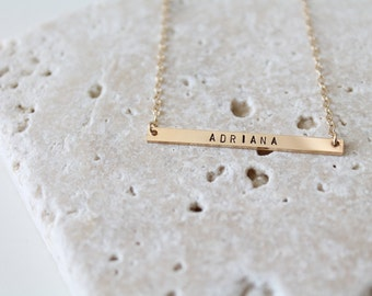Gold Bar Necklace, 38x3mm, Skinny Bar Necklace, Nameplate Necklace, Gold Initial Necklace, Personalized Gold Bar Necklace, Skinny Gold Bar
