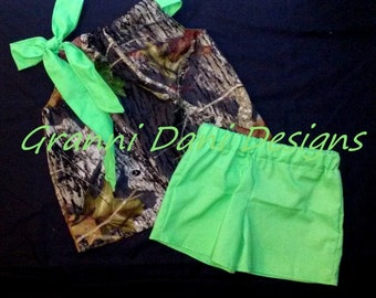 MOSSY OAK Camo camouflage top and shorts lime green baby toddler girl 0 3 6 9 12 18 24 months 2t 3t 4t 5t