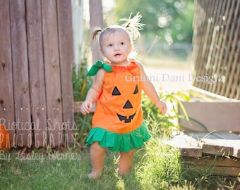 Halloween pumpkin applique orange green ruffle pillowcase dress baby toddler girl 0 3 6 9 12 18 24 months 2t 3t 4t 5t