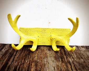 BOLD rustic modern cast iron deer antler wall hook // coat rack towel hook // sunny canary yellow // shabby cabin cottage chic
