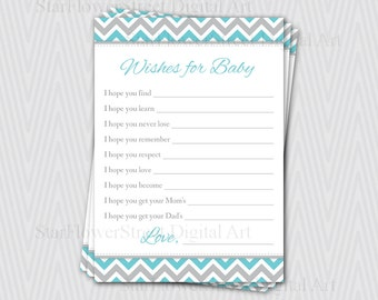 Baby Shower Activity Wishes for Baby Boy chevron aqua turquoise blue grey gray printable games download decoration well wish teal advice