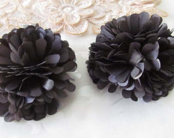 Gray fabric flower / Pewter Fabric Flower / Hair Flower / 2pc NO CLIPS
