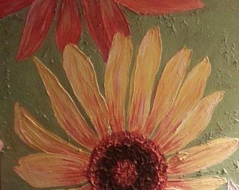 ORIGINAL Sunflower art on  16 x 20 canvas