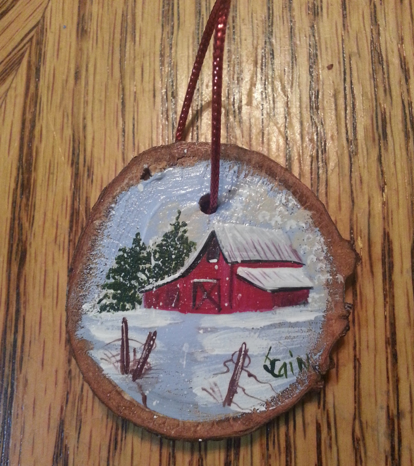 Wood Slice Ornament Hand Painted Featuring An Old By