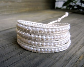 Beaded Leather Wrap Bracelet 4 or 5 Wrap with Ivory White Freshwater Pearls on Ivory Genuine Leather for Wedding Special Occasion Bridal
