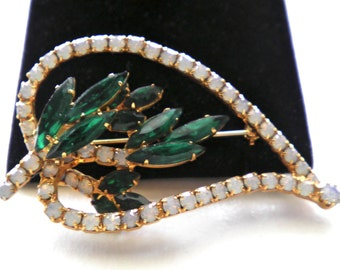 Vintage Big Opal & Emerald Green Rhinestone  Brooch Pin c.1960