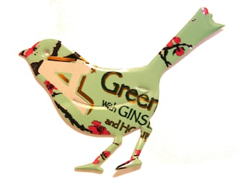 Arizona Green Tea - BIRD Magnet or Christmas Ornament - Recycled Soda Pop or Beer Can