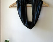 Rock the Casbah  - PU leather discs / stretch knit black scarf