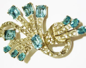 Joseph Wiesner Rhinestone Blue Brooch New York Jewelry Costume Bridal Grandmother Mothers Day Gift