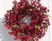 Valentine wreath, valentine decoration, winter wreath, winter decoration, holiday wreath, holiday decoration, red berry wreath, berry wreath