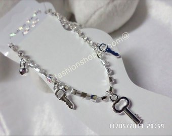 Three Key Charms Anklet, diamond anklet, cheap anklet