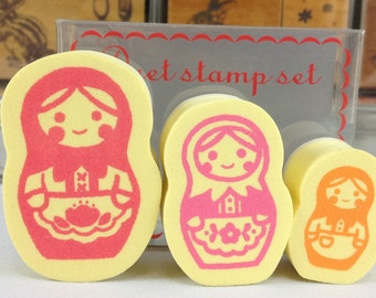 Matryoshka doll Russian Doll Stamp Set (3 pieces)