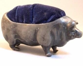 Antique White Metal Lead or Pewter Large Pig Pin Cushion