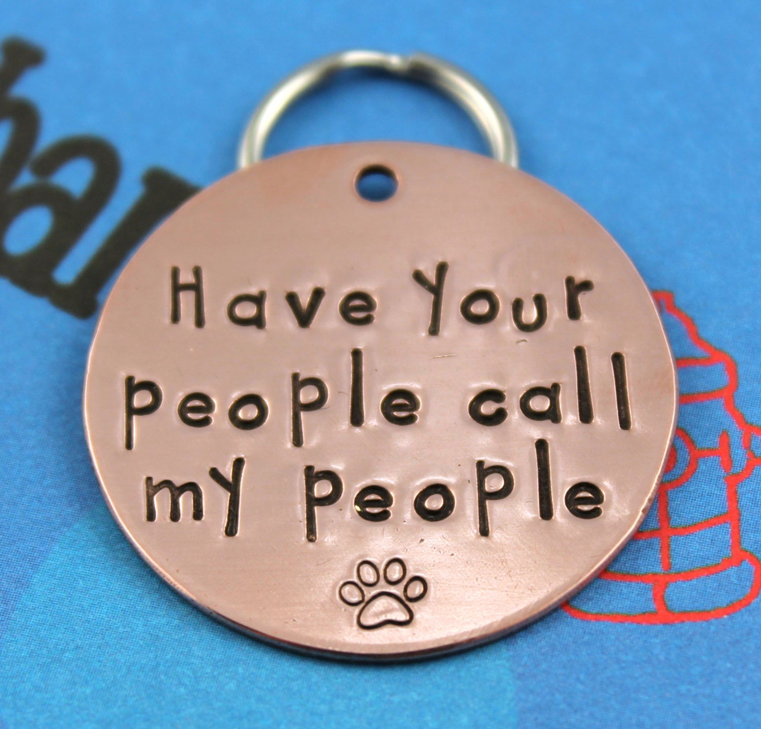 Large Customized Dog Tag Unique Pet Tag Handstamped