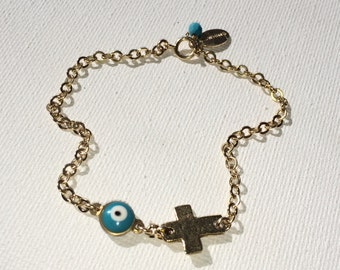 Evil Eye + Cross 14k Goldfilled Bracelet, Sterling Silver also