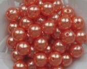 Beads Plastic Orange Red 9mm Round 15 pcs pearl-shell