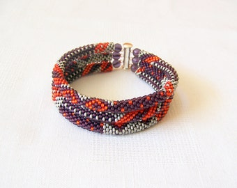 3 Strand Bead Crochet Rope Bracelet in red, purple and grey - beaded jewelry - seed beads bracelet