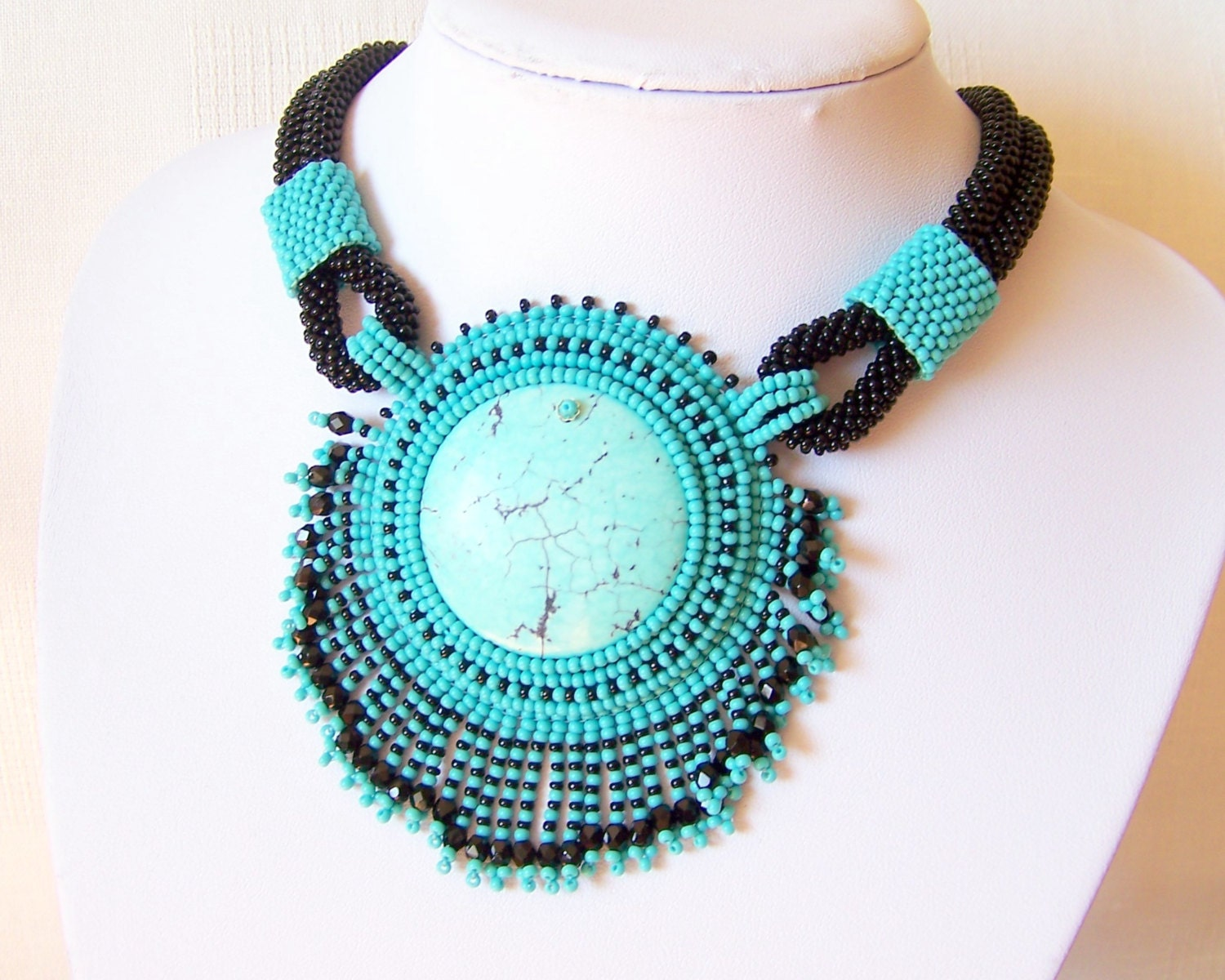 Bead embroidery necklace pendant beadwork with
