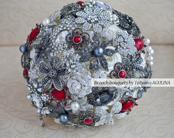 Brooch bouquet. Red, Black,  and Ivory wedding brooch bouquet, Jeweled Bouquet