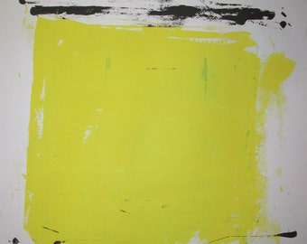 Abstract Minimal Black & Yellow No.0067 Ink on Paper 24x18 Modern