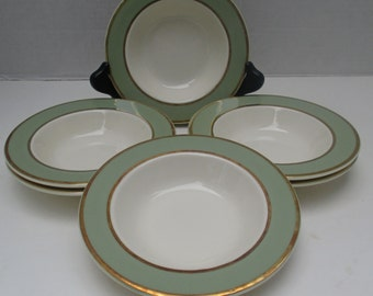 Taylor Smith Taylor Classic Heritage Shape Celadon Green Pattern - Rimmed Fruit Dessert Berry Bowls - Set of 4 (5 sets available)
