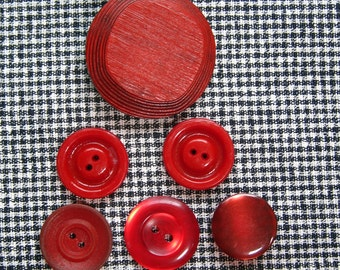 Vintage Red Tone Plastic and Wood Buttons, set of 15