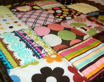Baby Quilt Patchwork Security Blanket Pink, Green, Blue, Yellow, Brown Minki Dot