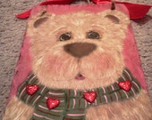 Sweetheart Bear Valentine's Day hand painted slate Welcome sign holiday wall decor