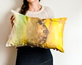 African man pillow cover | warm colors | watercolor pillow