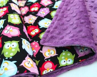 Sleepy Owls Baby Blanket-Choose Your Own Minky-Baby-Minky Dot Blanket