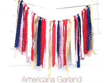 Americana Fabric Rag Tie Garland - Shabby Chic - Red Whtie Blue Wedding Decor - Shabby Photo Prop - Ready to ship